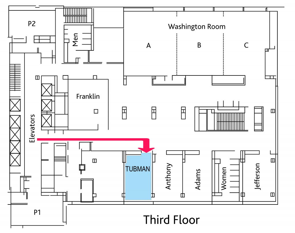Blueprint of the third floor with arrow showing where the conference room is located.